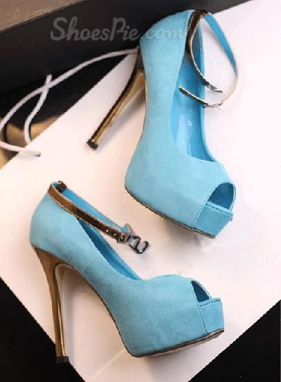 Peep-toe Golden Stiletto Heels with Ankle Strap