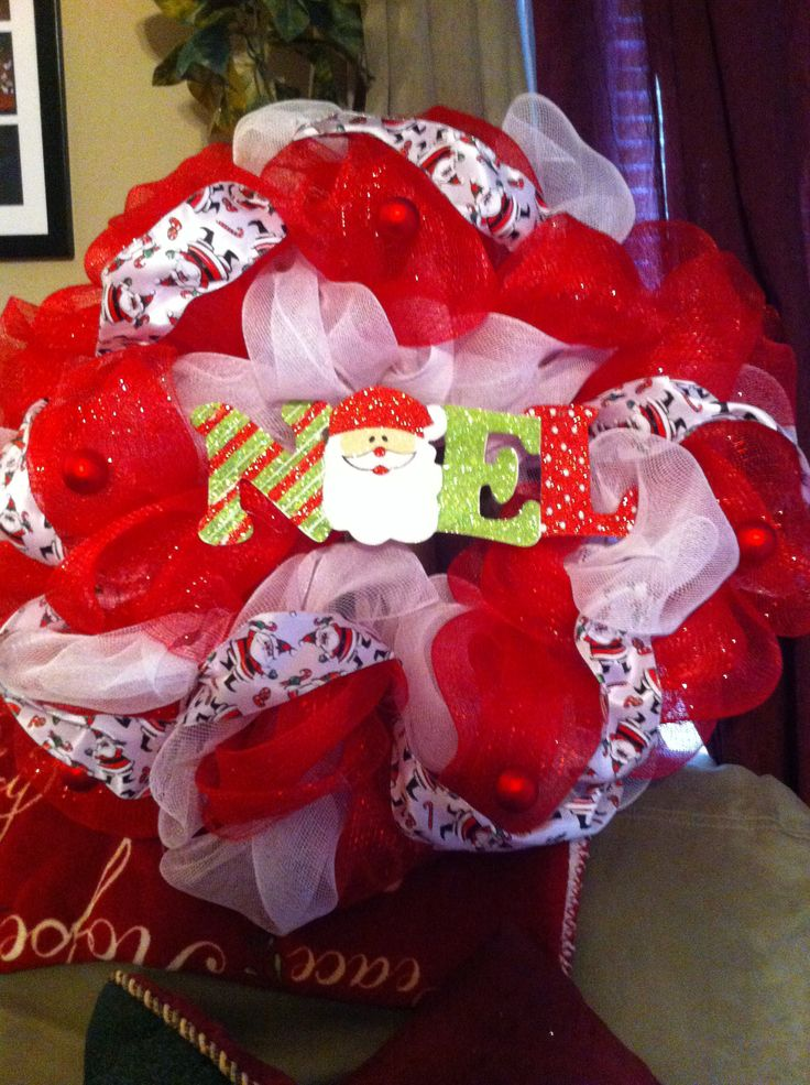 Christmas Deco Wreath...easy to make...I used a wire wreath and plastic wire ties...I just rotated the first color in and out on the wire wreath and then went back and did the second color opposite.