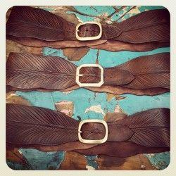 Hand carved Eagle Feather Belt