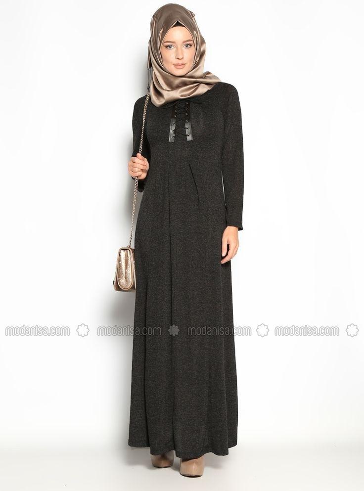 Bağcıklı Elbise - Siyah - Stilim