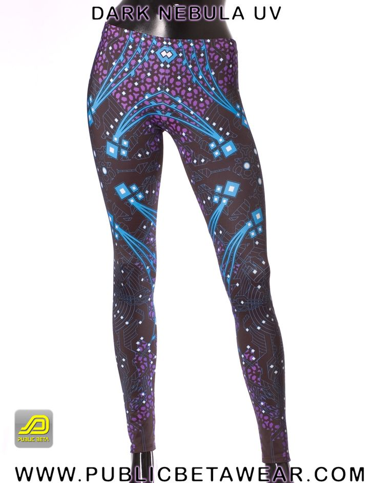 Dark Nebula Leggings D5 by Public Beta Wear  Psychoactive clothing. European product. Breathable fitness garment for comfort and freedom of movement.
