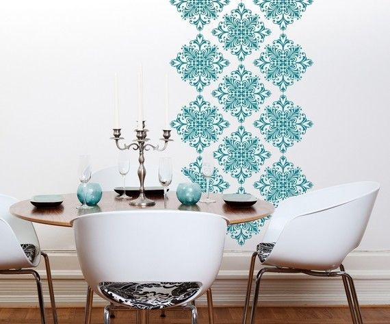 I have this, just haven't committed the time to putting it up.~ V Scroll Damask Vinyl Wall Decals  18 graphics by byrdiegraphics, $44.00