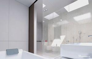 Biała łazienka w marmurze Bianco Perlino z umywalką z konglomeratu. www.bartekwlodarczyk.com