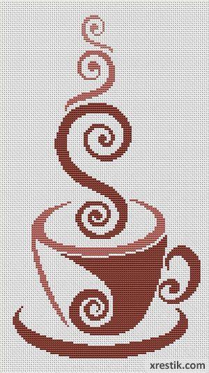 Кофе №39 Еда и напитки Монохром Схема для вышивки scheme for cross stitch