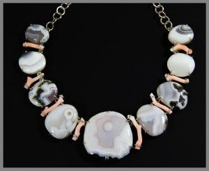 Aamazing natural stone necklace - Agate, Coral