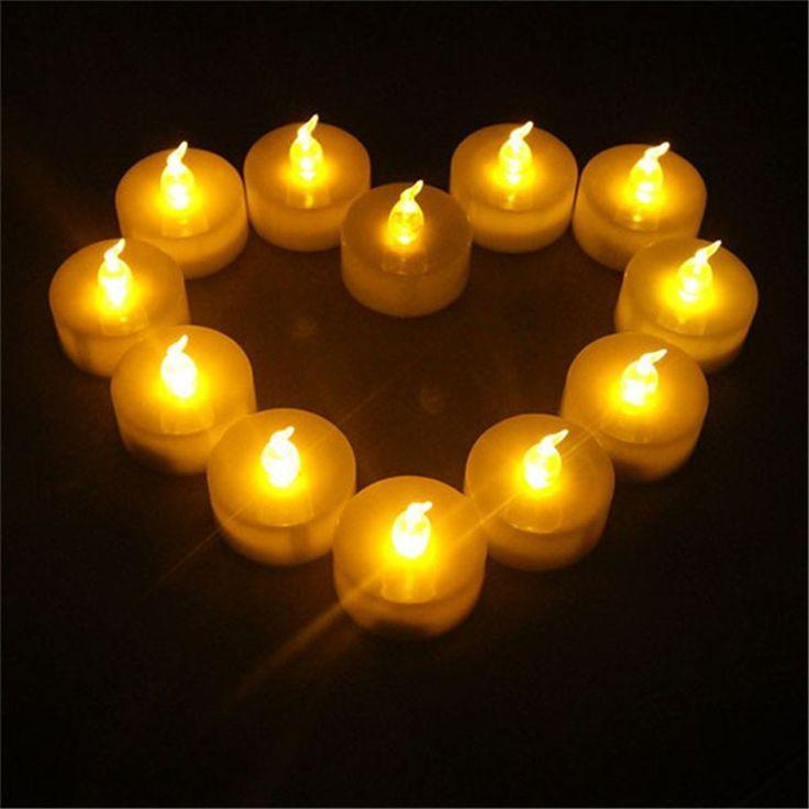 24pcs Romatic Wedding Candle Yellow plastic fake bougie vela heatless for Wedding Decoration battery including