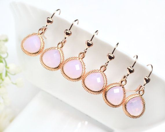 Blush bridesmaid earrings pink bridesmaid by ArtemisBridalJewelry