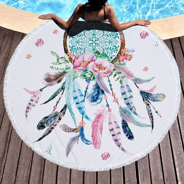 Hot Sale Feather Style Bath Towel Microfiber Round Beach Towel