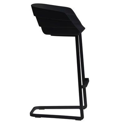 Chaise de bar Rift / H 65 cm - Coque plastique & pied métal Noir / Piètement…