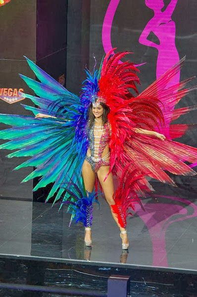 4th Place: Miss Trinidad and Tobago Catherine Miller--Multicolored Feathered Carnival Empress is how I can best describe this costume.