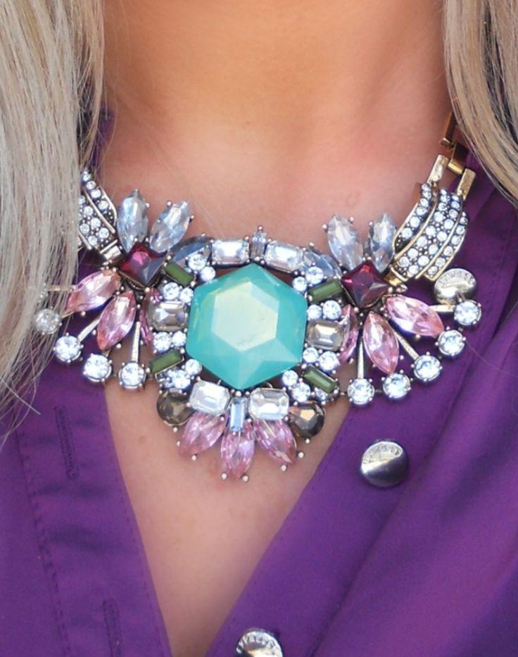 Deco Mint + Berry Statement Necklace