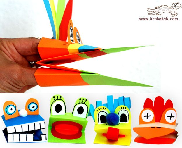 paper hand puppets. not in english but the pictures are easy enough to follow.