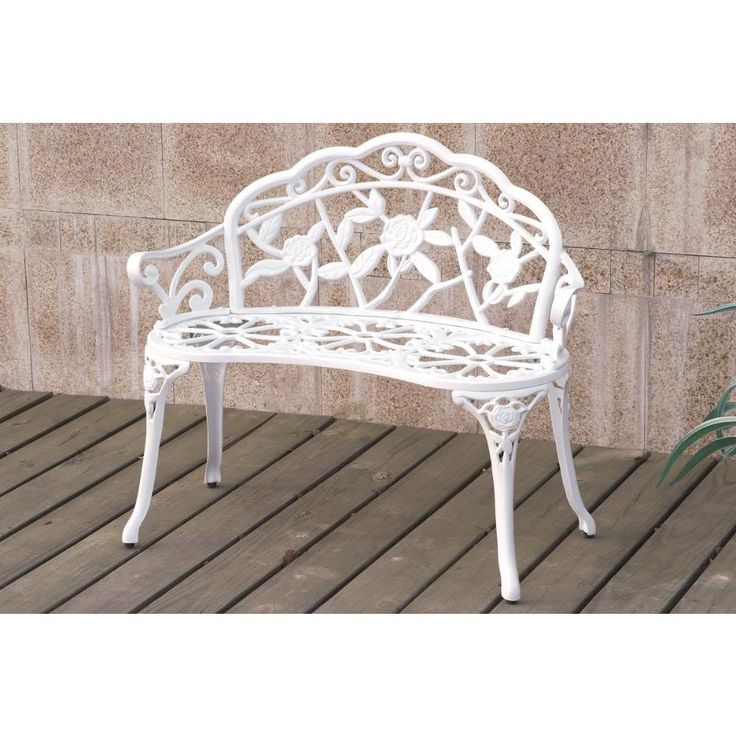 Bolinas Rose White Bronze Bench Patio