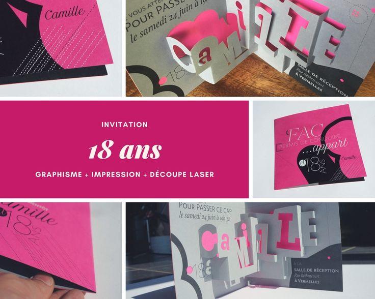 Carton d'invitation pour Anniversaire originale, l'association du graphisme + de jolis papiers de création + découpe laser.