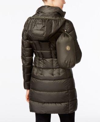 Michael Michael Kors Hooded Long Packable Down Puffer Coat - Black S