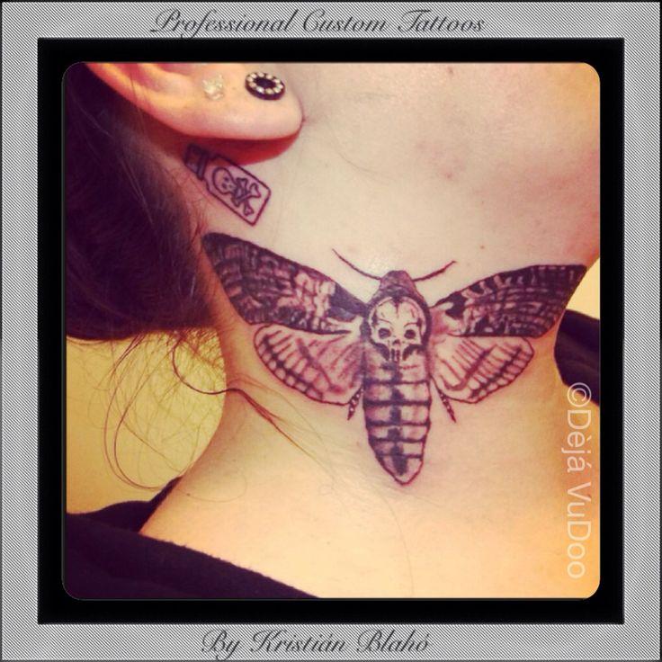 Death's Head Hawk Moth, neck tattoo by Krisztián Blahó Dèjá VuDoo studio Professional Custom Tattoos and Professional Body Piercing. www.dejavudoostudio.com