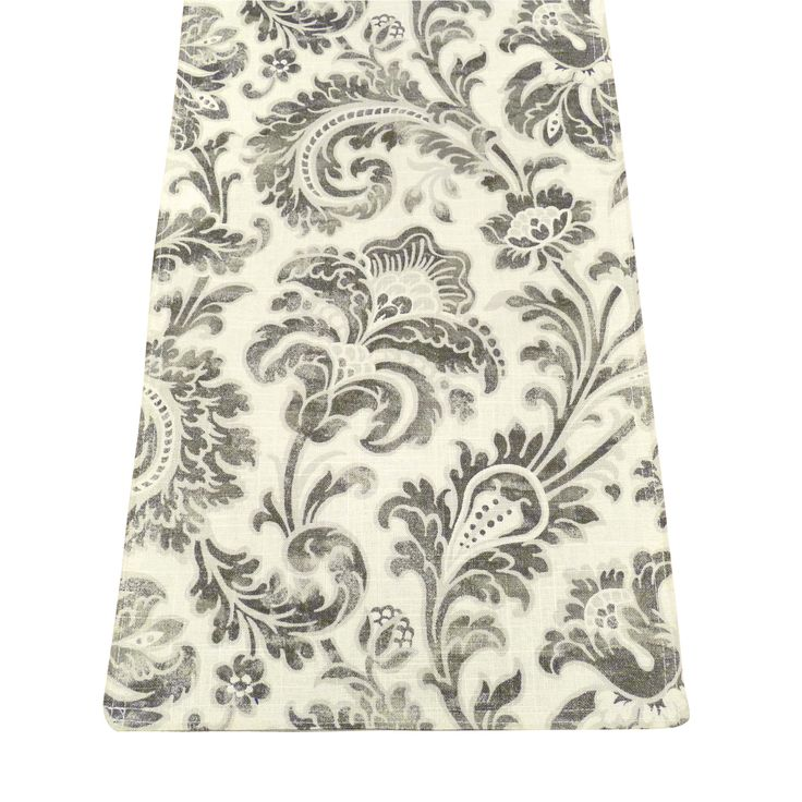 Boxtree Grey Table Runners feature a sophisticated acanthus stencil pattern in grey on a pale linen background -perfect for a transitional style décor! Runner is lined with a light colored lining fabric. #grey #leaf
