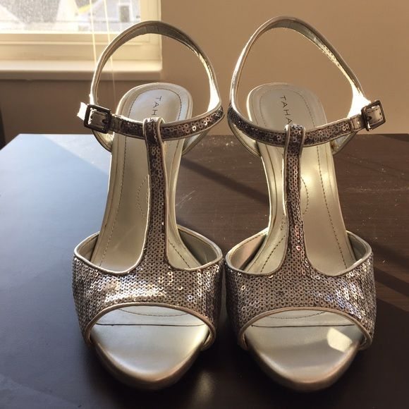 Tahari T-Strap Sequin Shoe Worn one time, very comfortable, just have no where to wear them! My loss is your gain Tahari Shoes Heels