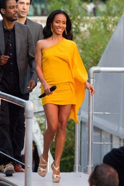 jada pinkett smith in a short yellow dress by roberto cavalli