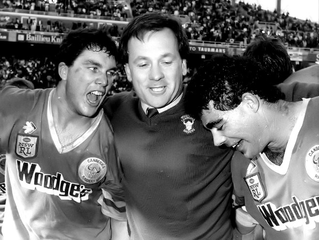1989 Grand Final: Canberra Raiders Brad Clyde, Tim Sheens and Mal Meninga.