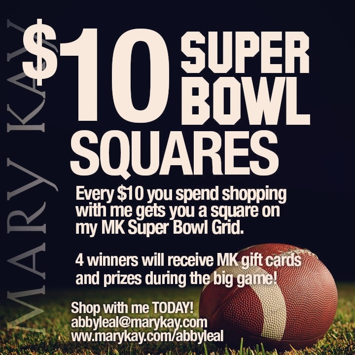 Get in on some Super Bowl action Mary Kay style! Shop online at marykay.com/abbyleal and earn yourself a chance to win MK prizes during the Big Game!