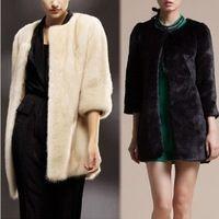 Mujeres calientes Handfeel suave cuero de imitación de piel de conejo Escudo Hierba Chaqueta Abrigo de invierno # 67627