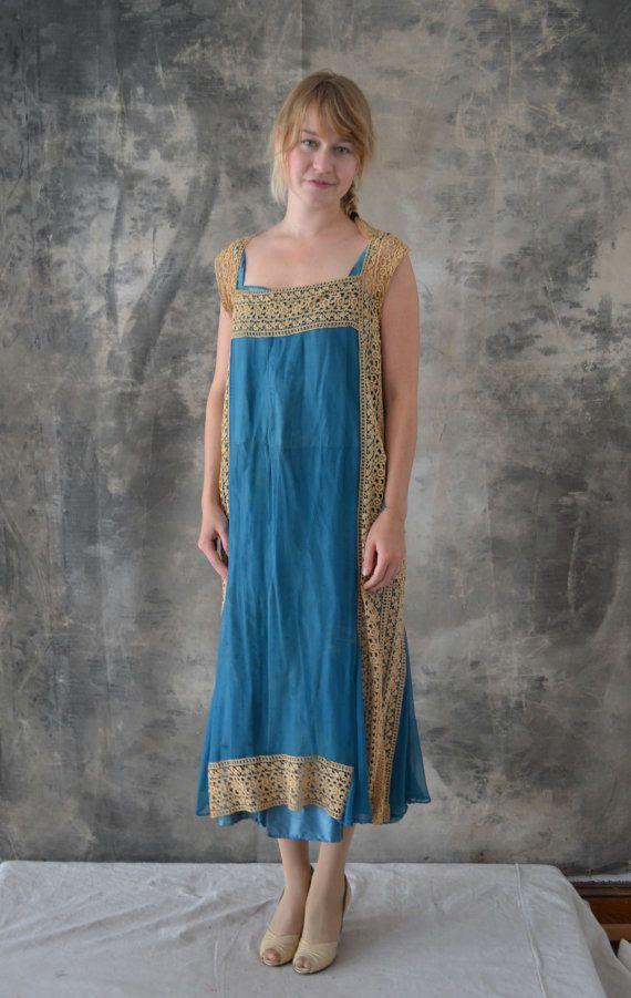Edwardian Lace and Silk Aqua Blue Dress by Petrune on Etsy