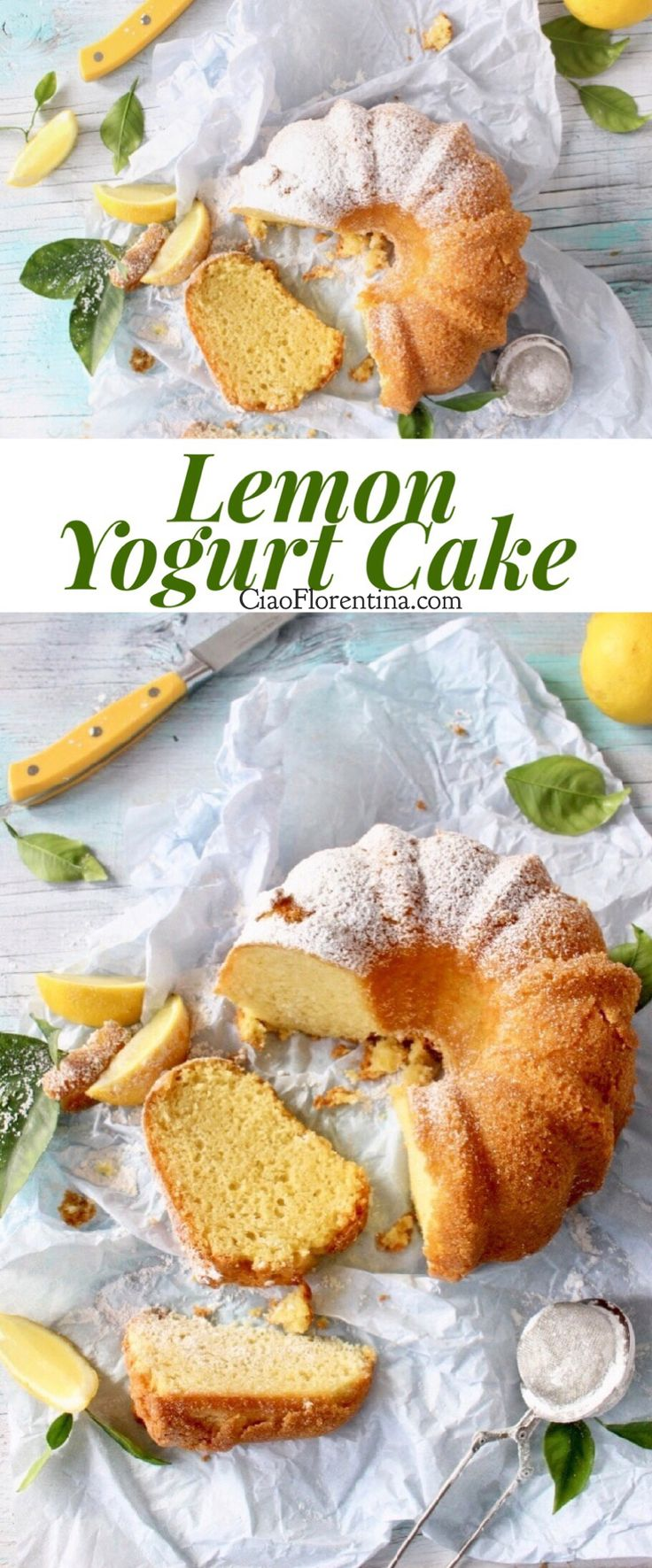 Lemon Greek Yogurt Cake Recipe with Vanilla and Olive Oil Dusted in Powdered Sugar | CiaoFlorentina.com @CiaoFlorentina