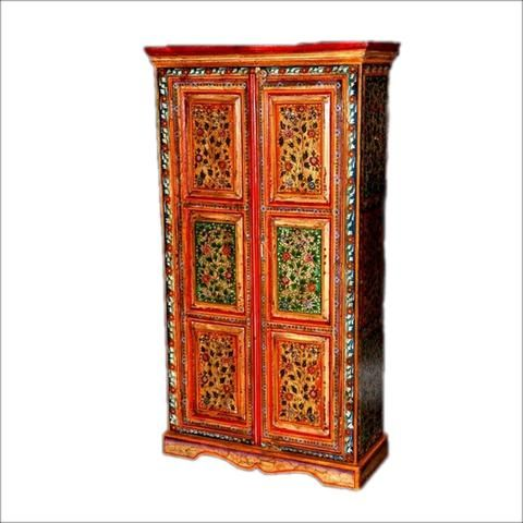 Red And Green Armoire With Floral Design
