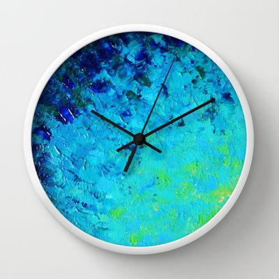 TRUE REFLECTION - Colorful Cool Tones Lovely Nature inspired Ocean Water Waves Beach Ripple Light Impressionist Bright Lime Green, Neon Turquoise Blue Royal Blue Navy Blue Colors Ombre Decorative Painting Fine Art Modern Home Decor Wall Clock by EbiEmporium - $30.00