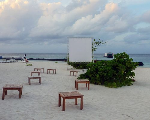 Cinema on the beach, Kuramathi, Maldives