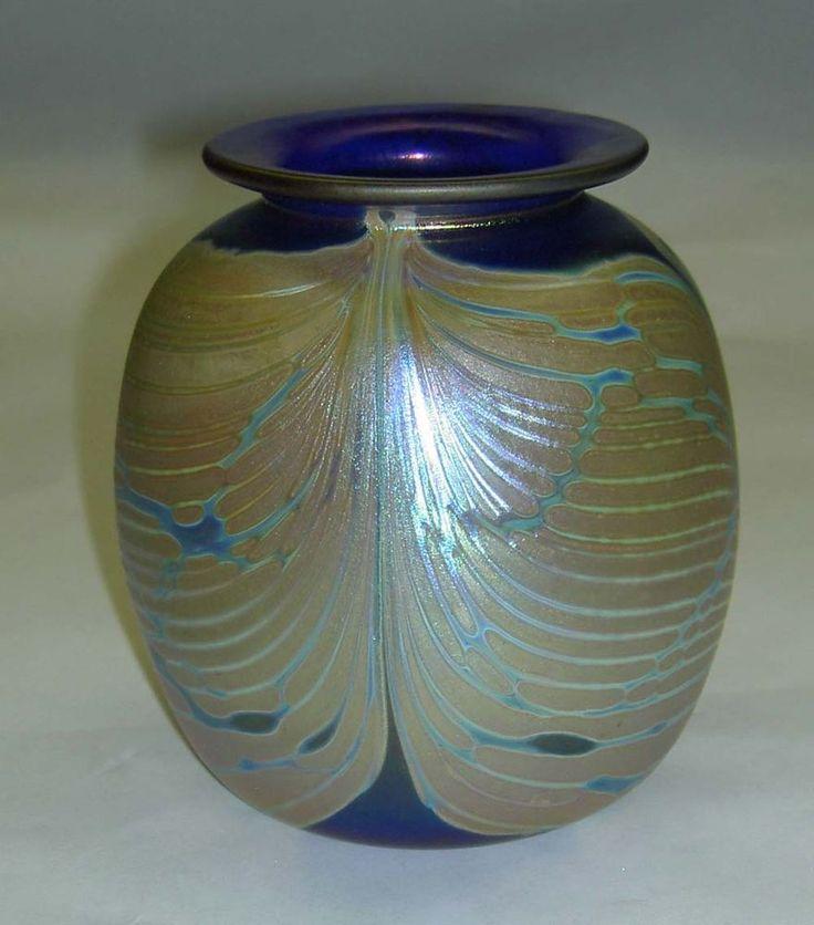 RICK HUNTER Cobalt Blue Feathered Iridescent Butterfly Wing Motif Art Glass Vase