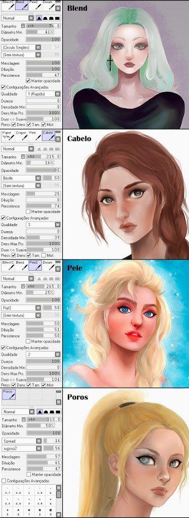 Meus pincéis para Paint Tool SAI ~ Gema de Ovo   Ilustração