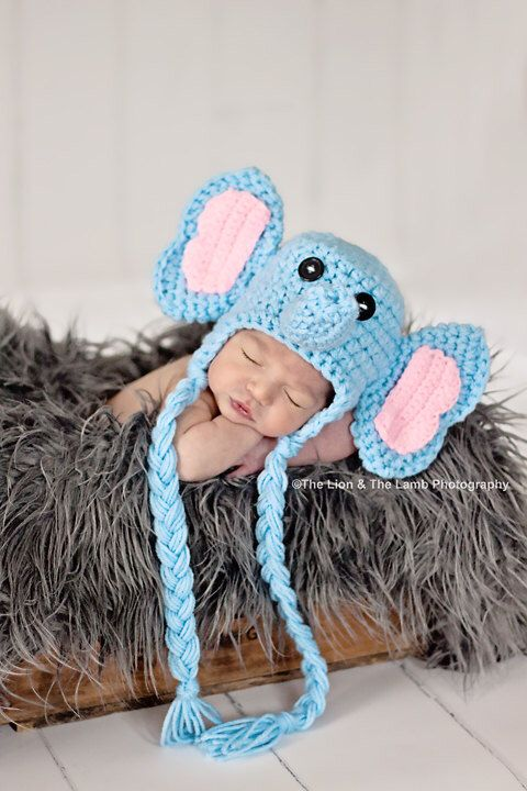 Crochet Newborn Elephant Hat by LionandLambPhotos on Etsy https://www.etsy.com/listing/226597368/crochet-newborn-elephant-hat