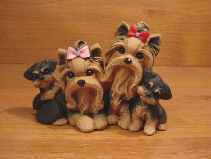 Original Yorkie Yorkshire Terrier Family Dog Sculpture ClayDogz MandyO ooak