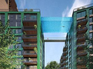 The fanciest swimming pool in the world at the Embassy Gardens housing development in Nine Elms. Luxury houses in London.