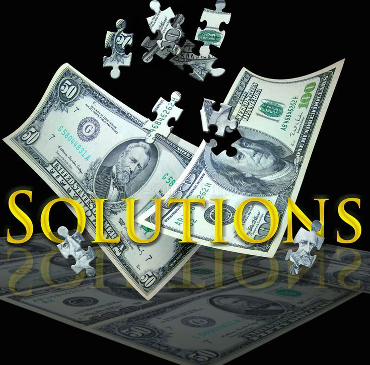 Business solutions. A 100 and 50 dollar bill float down