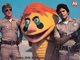 H.R. Puffinstuff with Erik Estrada and Larry Wilcox in a publicity Chips photo for 16 Magazine.
