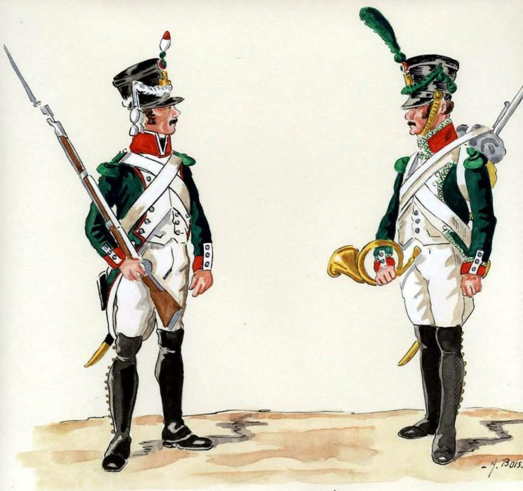 Kingdom of Italy-from left to right: Cornet and voltigeur light infantry, 1809-11. Fig. H. Boisselier.