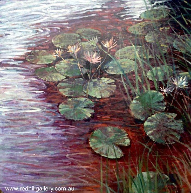 David Hinchliffe 'Light on the Pond, City Botanic Gardens' 137x137cm. 61 Musgrave Road, Red Hill Brisbane, QLD, Australia. art@redhillgallery.com.au