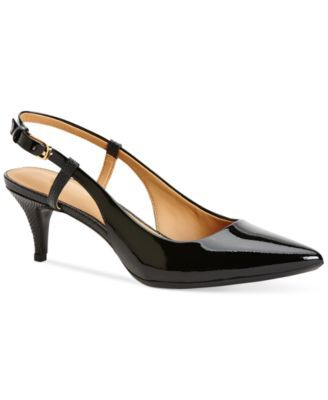 Calvin Klein Patsi Slingback Pumps $99.00 Add this pretty pointed style to your wear to work collection and you won't regret it. The Patsy slingback pumps offer a foot-friendly heel and cutout details in the back.