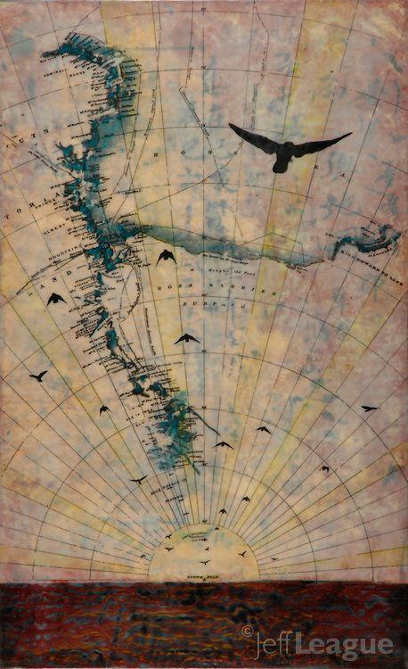 'Global Migration,' Jeff League. Birds in flight over antique map of Antarctica