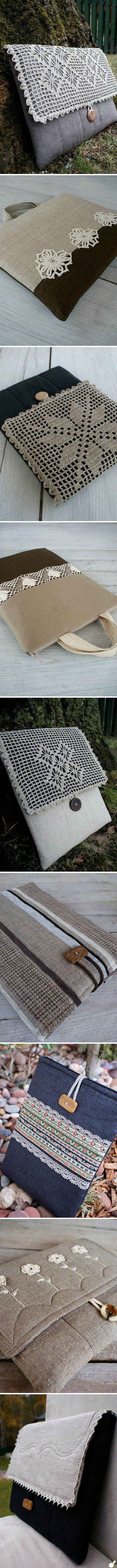 Cool idea for combining crochet with fabric for purses.  No patterns but these are just beautiful.