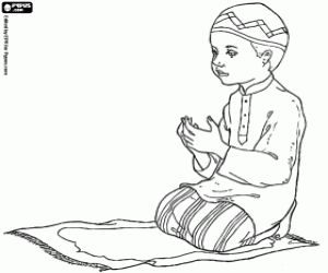the prayer of the muslim boy coloring page