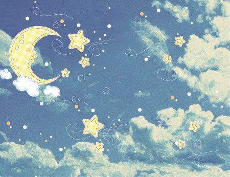 Φόντο με σύννεφα αστέρια και μισοφέγγαρο | Παιδικά