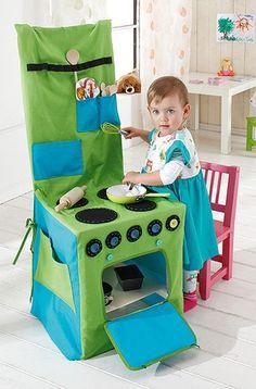 Stuhlhusse als Kinderküche nähen