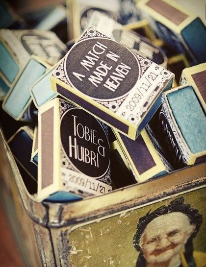 "See more images from 12 cute (and useful!) engagement party favors on domino.compersonalized matches For a minimalist and useful engagement party favor, these matchboxes for ""a match made in heaven"" or ""the perfect match"" matches will do the trick. Pair the matches with a mini candle or votive for a fragrant gift that any guest would be happy to bring home."