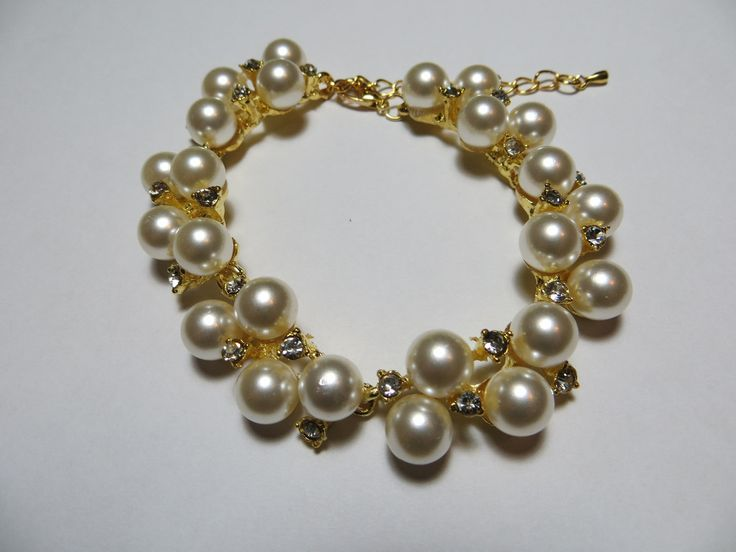 Faux Pearl and Crystal Bracelet