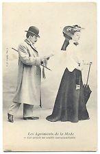 Mode, Mann im Mantel, Zeitung, Frau mit Regenschirm, um 1910