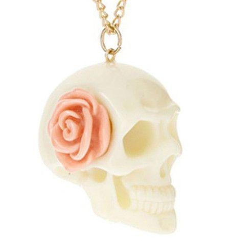 Colar Caveira com Rosa #skull #caveira #colar #necklace #vintage #rose